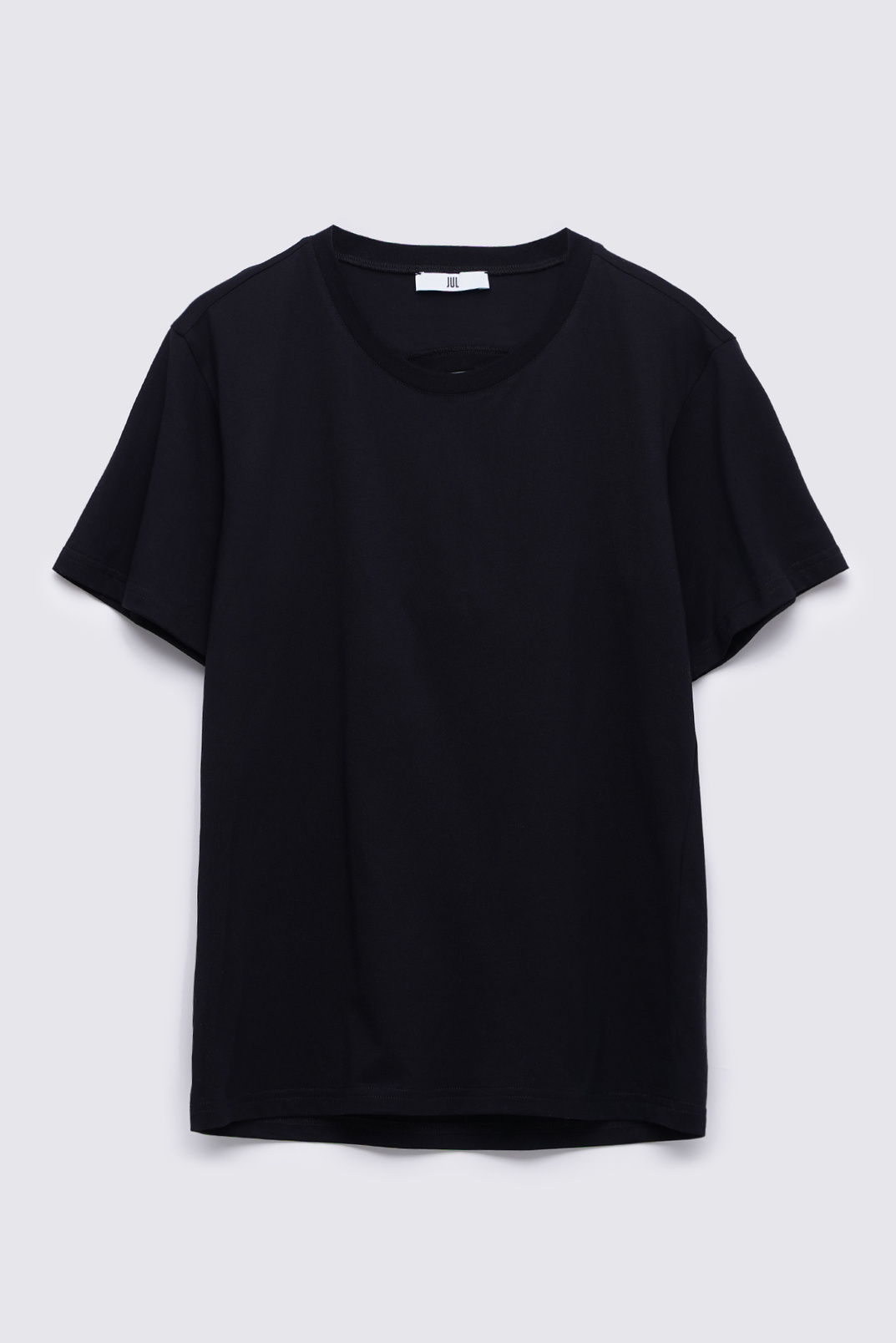 T-shirt with a neckline on the back, Black, S
