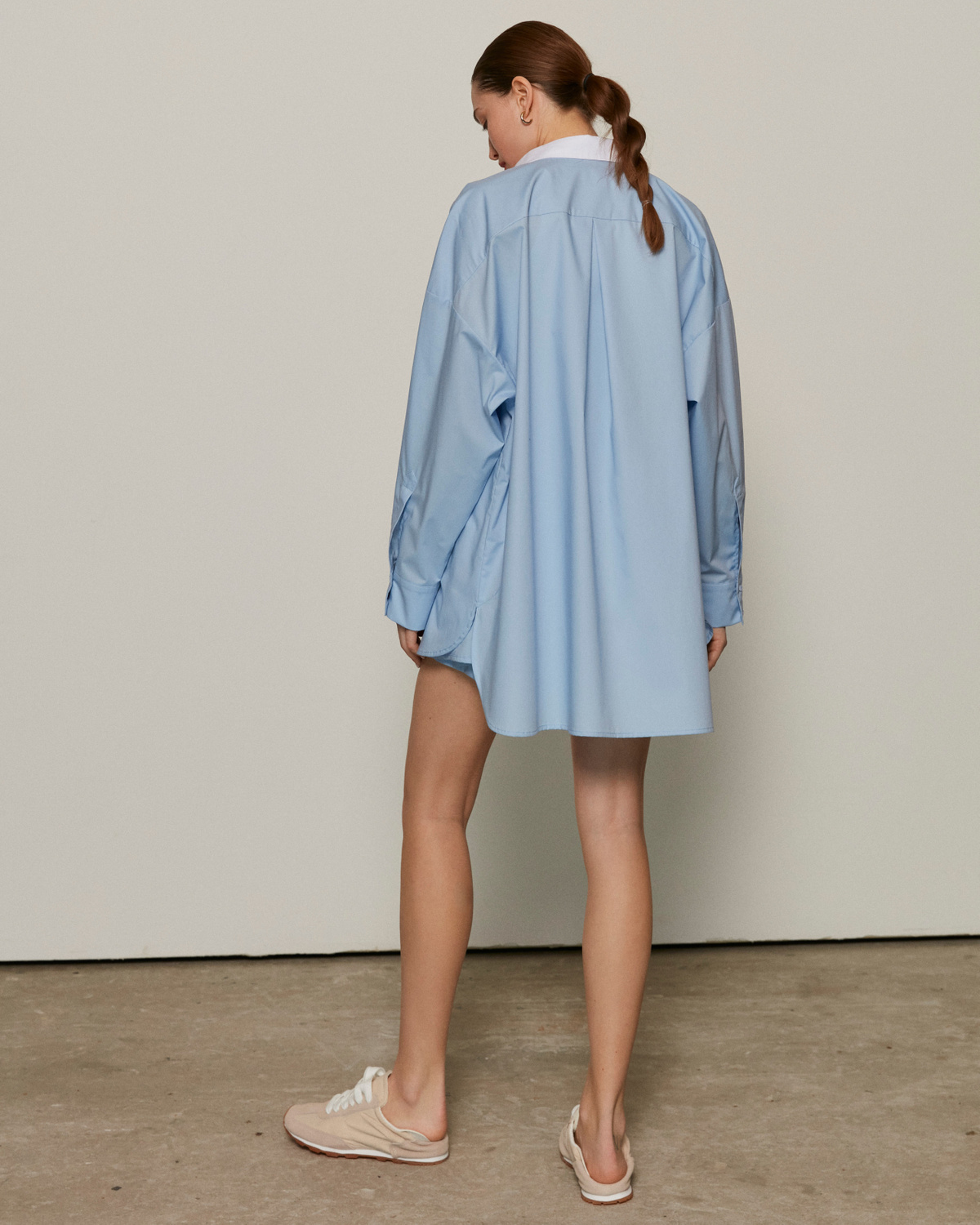Pyjama shirt with a white collar, Sky-blue, XS-S