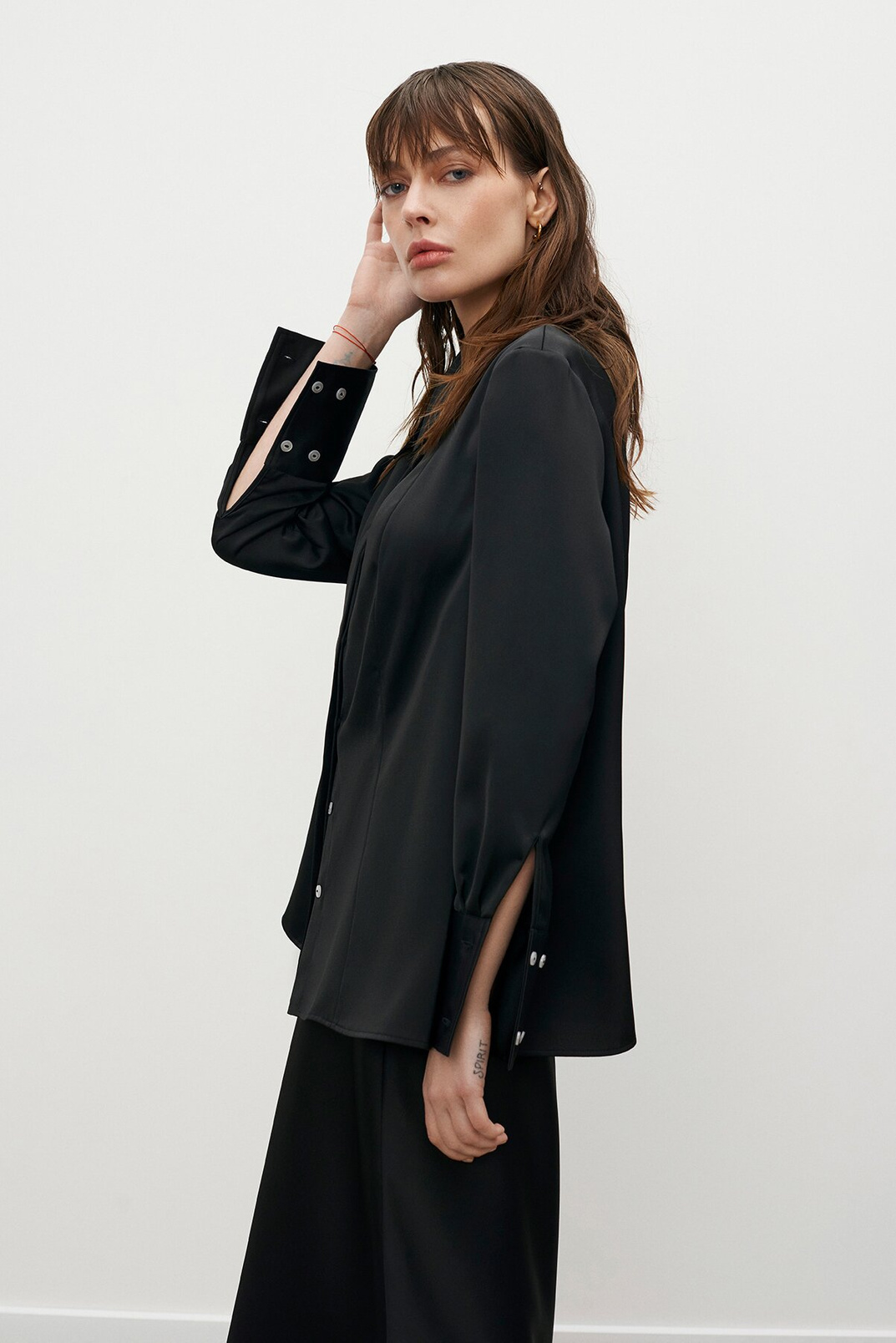 Satin shirt, Black, XS
