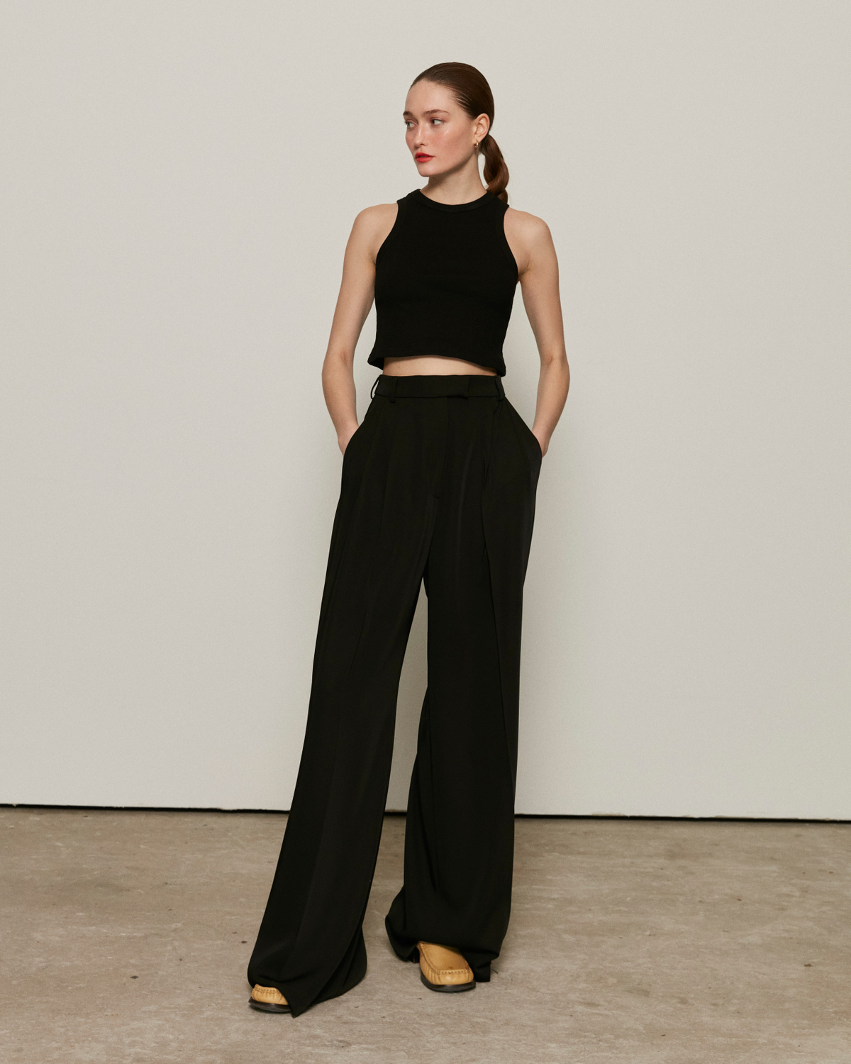 Wide trousers, Black, XS