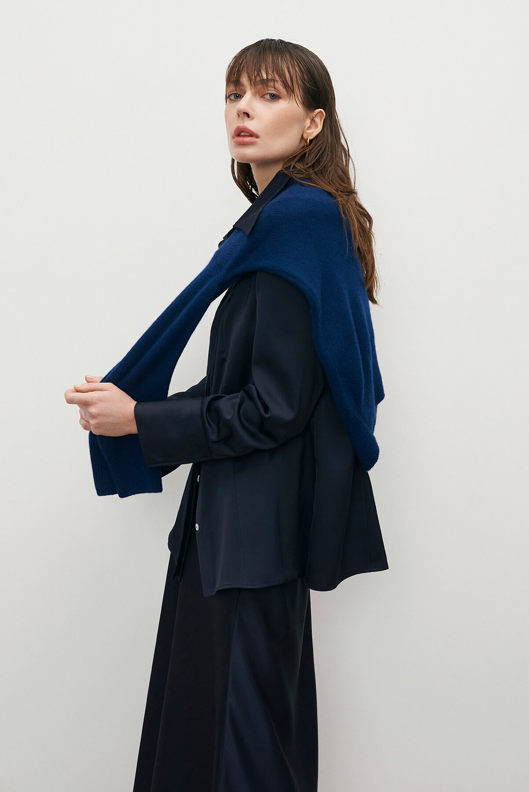 Satin shirt, Dark blue, XS