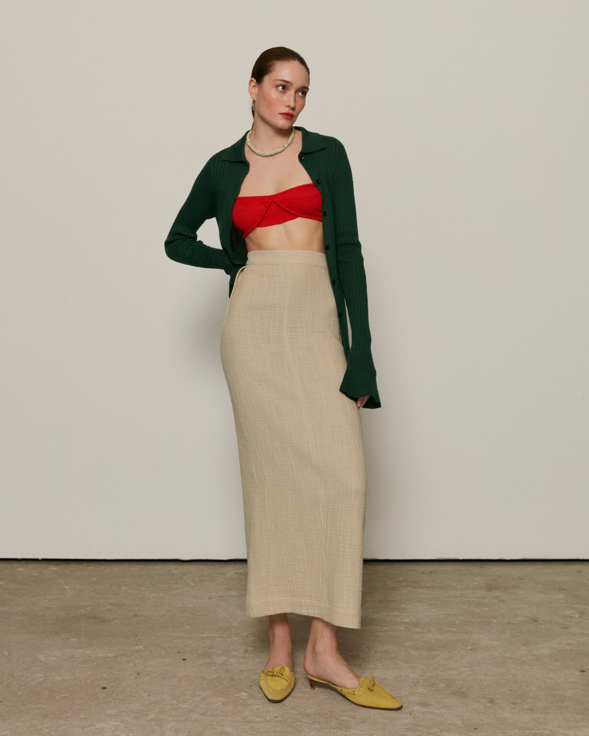 Long straight-cut skirt, Beige, S