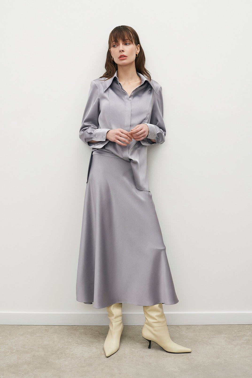 Satin shirt, Light gray, L